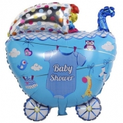 Коляска для мальчика, baby shower, гелиевый, фольгированный шар