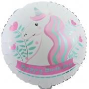 С Днем Рождения (единорог), Белый, гелиевый, фольгированный шар