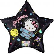 Hello Kitty, Космонавт, Черный, гелиевый, фольгированный шар