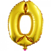 Цифра 0, золото, воздушный, фольгированный шар