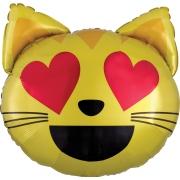 Эмоции Смайлик Кошка влюбленная голова,гелиевый, фольгированный шар