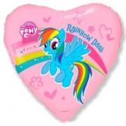 Пони в сердечке, гелиевый, фольгированный шар