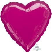 """Сердце, 19"""", Металлик Fuchsia (фукси), фольгированный шар"""