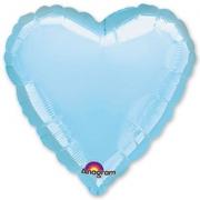 """Сердце, 19"""", Пастель Blue (голубой), фольгированный шар"""