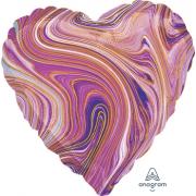 """Сердце, 19"""", Мрамор Purple (фиолетовый), фольгированный шар"""