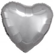 "Сердце, 19"", Металлик Silver (серебро), фольгированный шар"