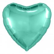 """Сердце, 19"""", Металлик Tiffany (бирюзовый), фольгированный шар"""