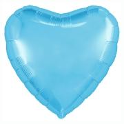"""Сердце, 19"""", Пастель Cool Blue (холодный голубой), фольгированный шар"""