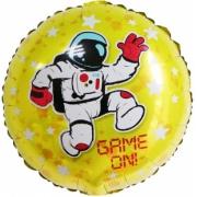 Game on/Начало Игры! (космонавт и звезды), Желтый, фольгированный шар