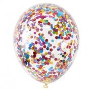 """Шар, 14"""" - 35 см, прозрачный с разноцветным конфетти, кристалл, латексный"""