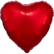 """Сердце, 19"""", Металлик Red (красный), фольгированный шар"""
