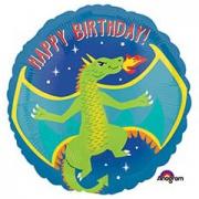 Happy Birthday Дракон огнедышащий, фольгированный шар