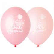 Шар С ДР Велосипед розовый, 35 см, ассорти, пастель, латексный