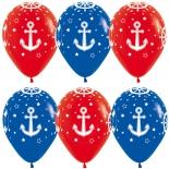 Шар Морские якоря, 35 см, красный и синий, пастель, латексный