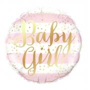 Baby Girl полосы розовые, фольгированный шар, 45 см