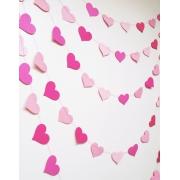 Гирлянда, Сердца Микс, розовый и нежно-розовый