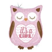 IT'S A GIRL Сова розовая блеск, фольгированный шар, 66 см