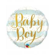 Baby BOY полосы голубые, фольгированный шар, 45 см