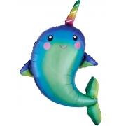 Дельфин с радужным рогом, фольгированный шар