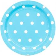 Тарелка бумажная  малая Горошек голубая
