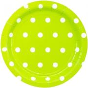 Тарелка бумажная  малая Горошек салатовая