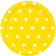 Тарелка бумажная  малая Горошек желтая