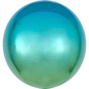 """Сфера, 22"""", сине-зеленый, фольгированный шар"""