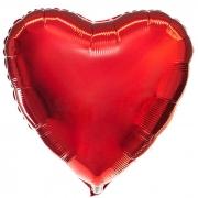 """Сердце, 18"""", Металлик красный, фольгированный шар"""