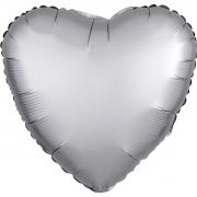 """Сердце, 18"""", Звезда Сатин серебряный, фольгированный шар"""