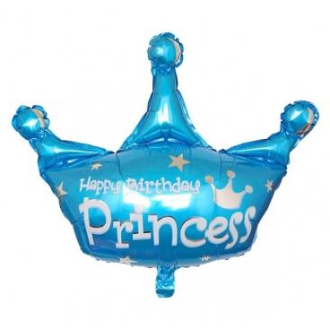 Корона,Happy birthday, Голубой, фольгированный шар