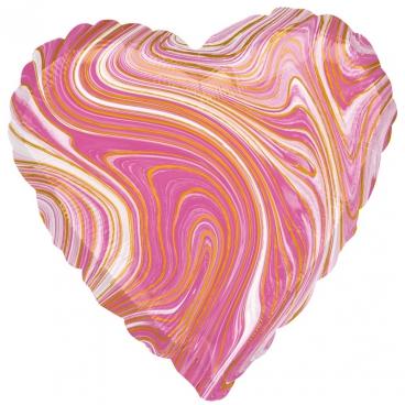"""Сердце, 19"""", Мрамор Pink (розовый), фольгированный шар"""