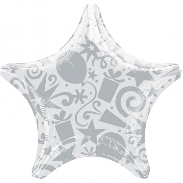 """Звезда, 22"""", Звезды и подарки, серебро, фольгированный шар"""