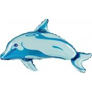 Дельфин синий, фольгированный шар