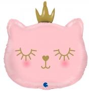 Кошка голова розовый, гелиевый, фольгированный шар