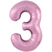 Цифра 3, фламинго, slim, фольгированный шар