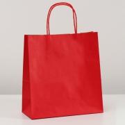Пакет крафт, крученые ручки, красный (25х11x32 см,90г/м2)