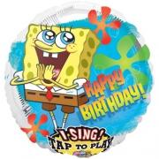 Музыкальный Happy Birthday Губка Боб, фольгированный шар