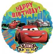 Музыкальный Happy Birthday Тачки, фольгированный шар