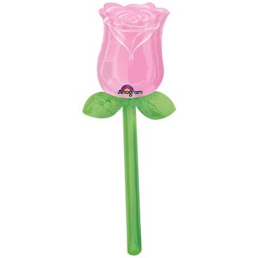 Роза розовая, воздушный, фольгированый шар