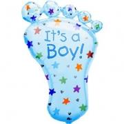 Стопа мальчика голубая, фольгированный шар