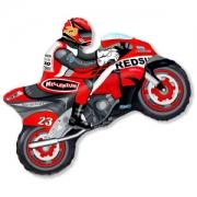 Мотоциклист красный, фольгированный шар