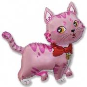 Кошечка с бантом розовая, фольгированный шар