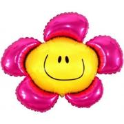Цветок розовый, фольгированный шар