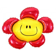 Цветок красный, фольгированный шар