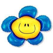 Цветок синий, фольгированный шар