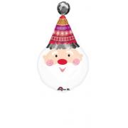 Санта в колпаке, фольгированный шар