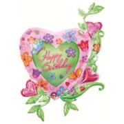 Сердце в цветах Happy Birthday, гелиевый, фольгированный шар