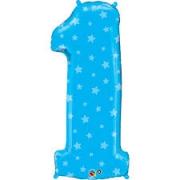 Цифра 1, звездочки, голубой, гелиевый, фольгированный шар