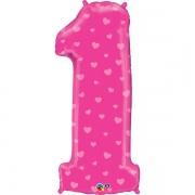 Цифра 1, сердечки, розовый, гелиевый, фольгированный шар
