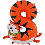 Цифра  8, кот, гелиевый, фольгированный шар